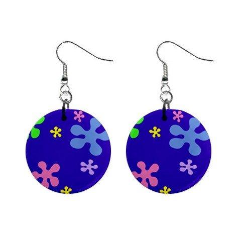 Hippy Flower Power #2 Dangle Earrings Jewelry 1 inch Buttons 12305914