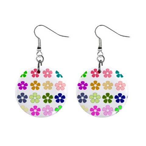 Hippy Flower Power #3-1 Dangle Earrings Jewelry 1 inch Buttons 12305915