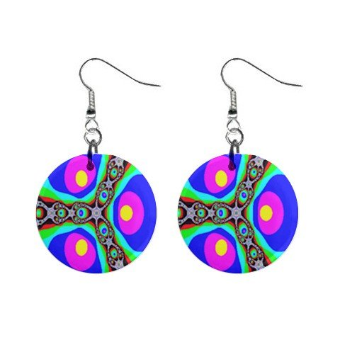 Hippy Funky Groovy Far Out Design Dangle Earrings Jewelry 1 inch Buttons 12305916