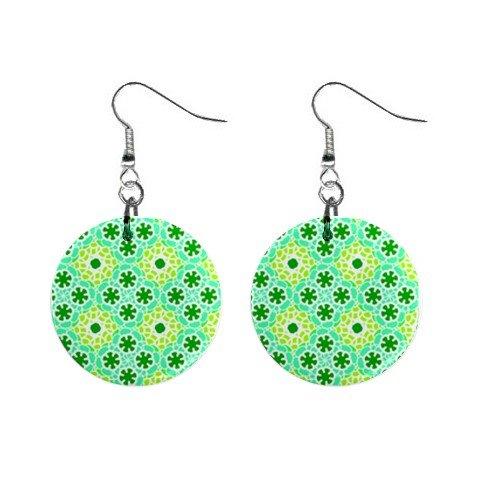 Hippy Groovy Pattern Dangle Earrings Jewelry 1 inch Buttons 12305917