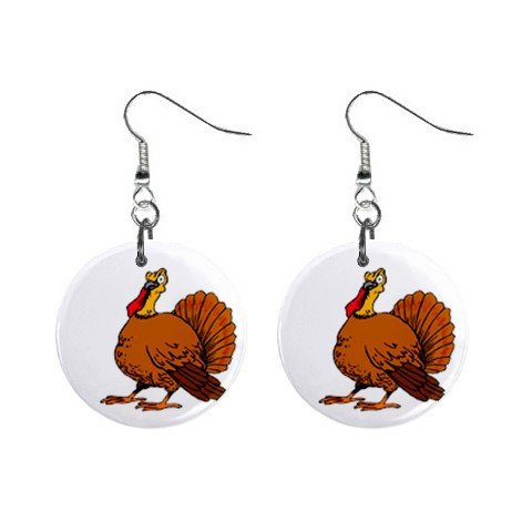 Tom Turkey Thanksgiving Day Dangle Earrings Jewelry 1 inch Buttons 12305922