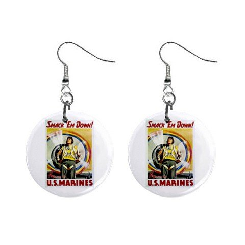 Smack 'em Down Marines Dangle Earrings Jewelry 1 inch Buttons 12305941