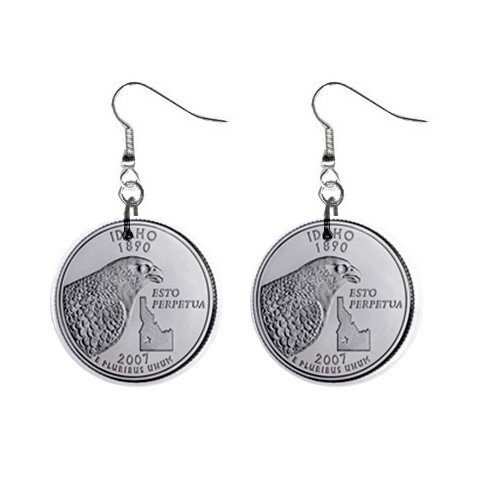 Idaho State Quarter Dangle Earrings Jewelry 1 inch Buttons12302546