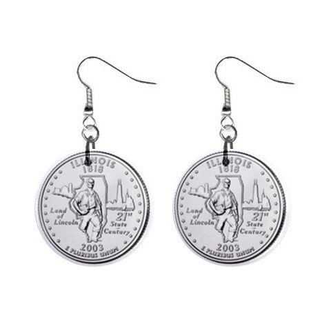Illinois State Quarter Dangle Earrings Jewelry 1 inch Buttons 12302545