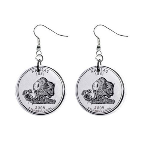 Kansas State Quarter Dangle Earrings Jewelry 1 inch Buttons 12302542