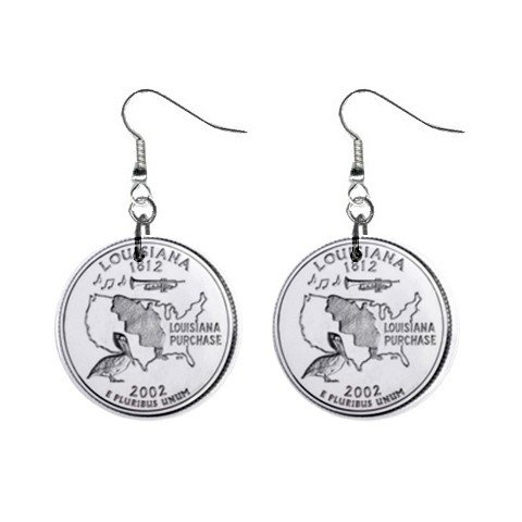 Louisiana  State Quarter Dangle Earrings Jewelry 1 inch Buttons 12302540