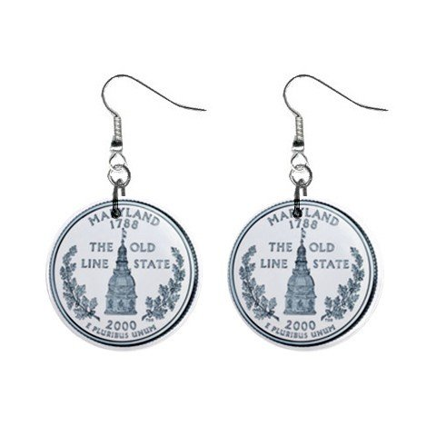 Maryland State Quarter Dangle Earrings Jewelry 1 inch Buttons 12302538