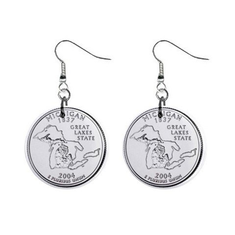 Michigan State Quarter Dangle Earrings Jewelry 1 inch Buttons 12302537