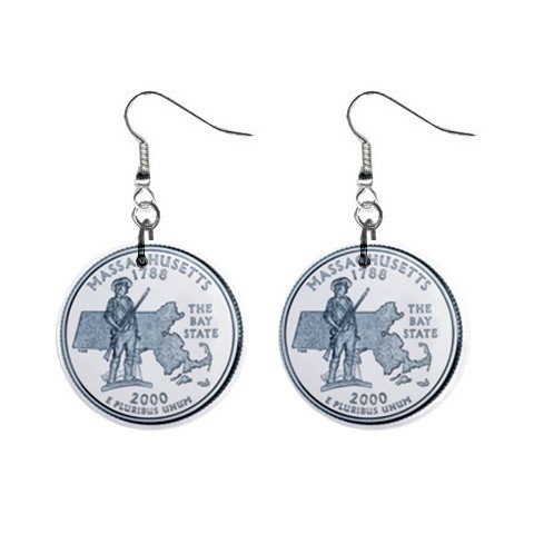 Massachusetts State Quarter Dangle Earrings Jewelry 1 inch Buttons 12302535