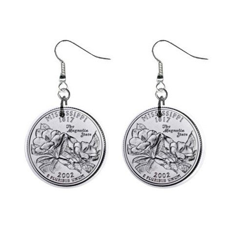 Mississippi State Quarter Dangle Earrings Jewelry 1 inch Buttons 12302533