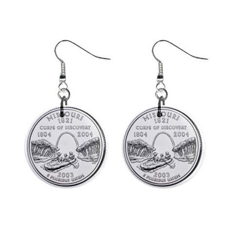 Missouri State Quarter Dangle Earrings Jewelry 1 inch Buttons 12302532