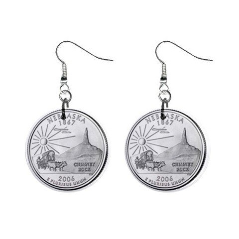 Nebraska State Quarter Dangle Earrings Jewelry 1 inch Buttons 2302530