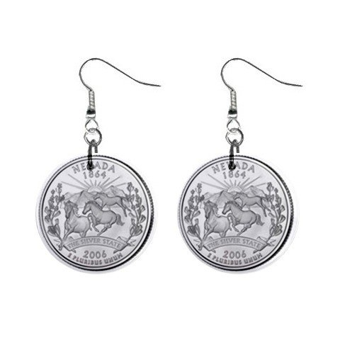 Nevada State Quarter Dangle Earrings Jewelry 1 inch Buttons 12302529