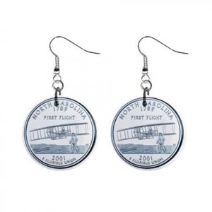 North Carolina State Quarter Dangle Earrings Jewelry 1 inch Buttons 12302524