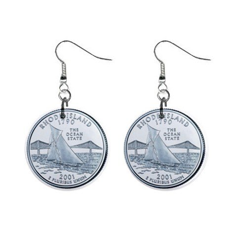 Rhode Island State Quarter Dangle Earrings Jewelry 1 inch Buttons 12302516