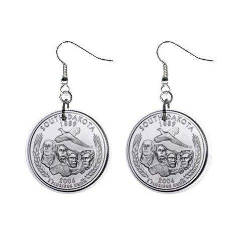 South Dakota State Quarter Dangle Earrings Jewelry 1 inch Buttons 12302514