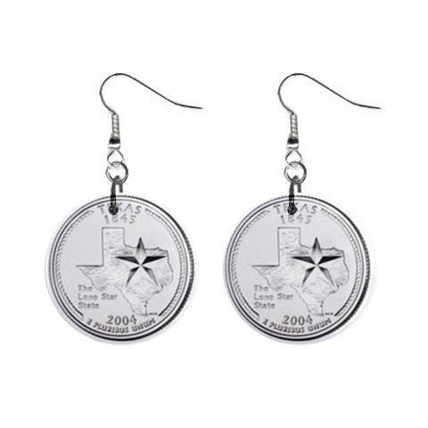 Texas State Quarter Dangle Earrings Jewelry 1 inch Buttons 12302512