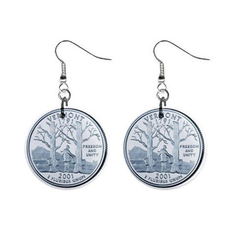 Vermont State Quarter Dangle Earrings Jewelry 1 inch Buttons 12302511