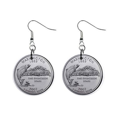 Washington State Quarter Dangle Earrings Jewelry 1 inch Buttons 12302509