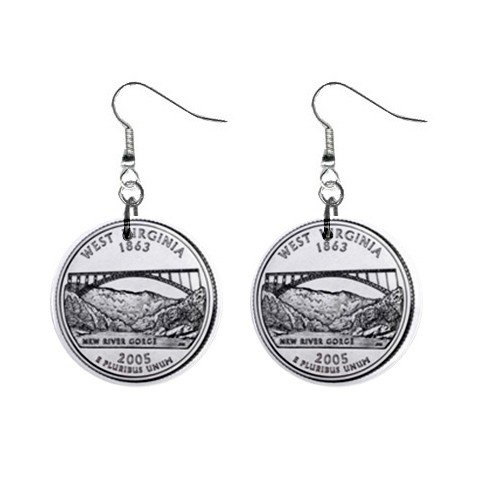 West Virginia State Quarter Dangle Earrings Jewelry 1 inch Buttons 12302508