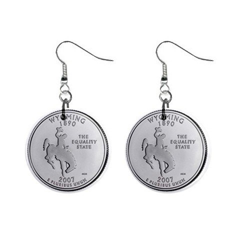 Wyoming State Quarter Dangle Earrings Jewelry 1 inch Buttons 12302506