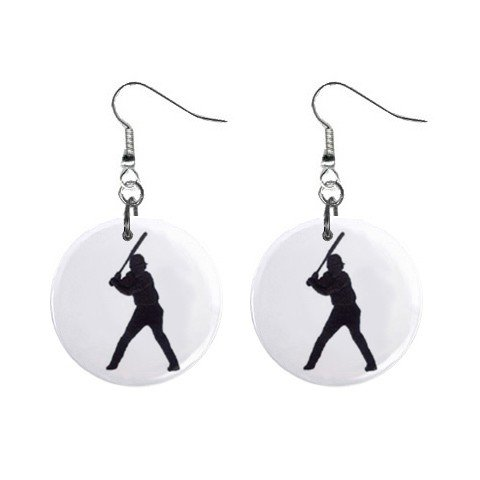 Baseball Player Dangle Earrings Jewelry 1 inch Buttons