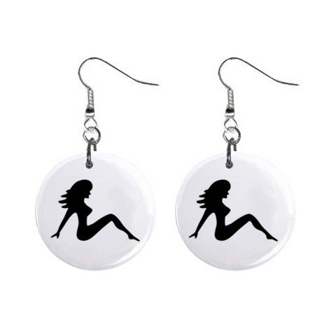 Mud Flap Girl Dangle Earrings Jewelry 1 inch Buttons 12305997