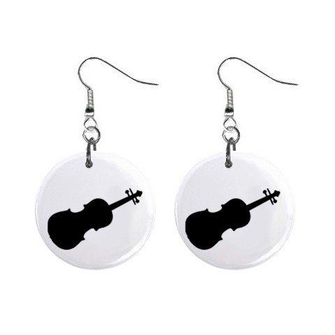 Violin Dangle Earrings Jewelry 1 inch Buttons 12305998