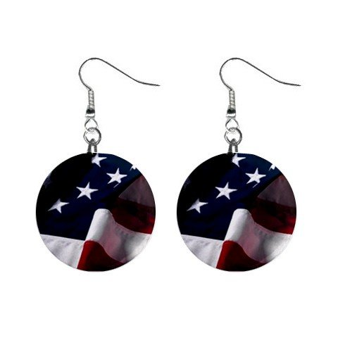 Flowing American Flag Dangle Earrings Jewelry 1 inch Buttons 12306003