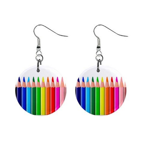 Colored Pencils Dangle Earrings Jewelry 1 inch Buttons 12306021