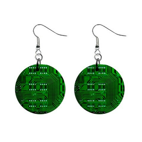 Circuit Board Dangle Earrings Jewelry 1 inch Buttons 12306020