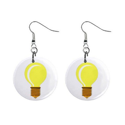 Bright Idea Light Bulb Dangle Earrings Jewelry 1 inch Buttons 12320052