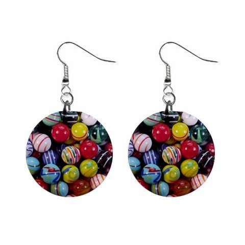 Marbles #4 Dangle Earrings Jewelry 1 inch Buttons 12320055