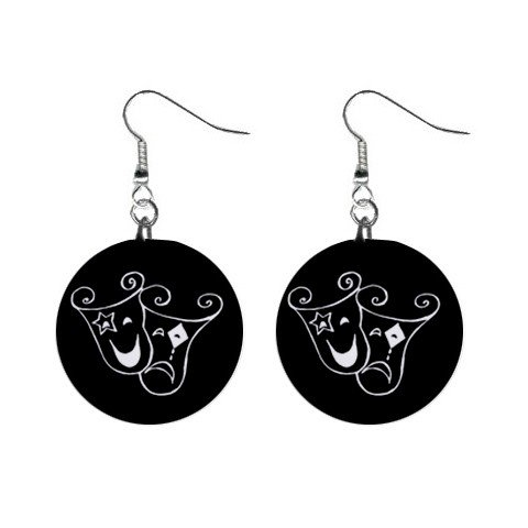 Theatrical Mask Sad and Happy Mask Dangle Earrings Jewelry 1 inch Buttons 12320056