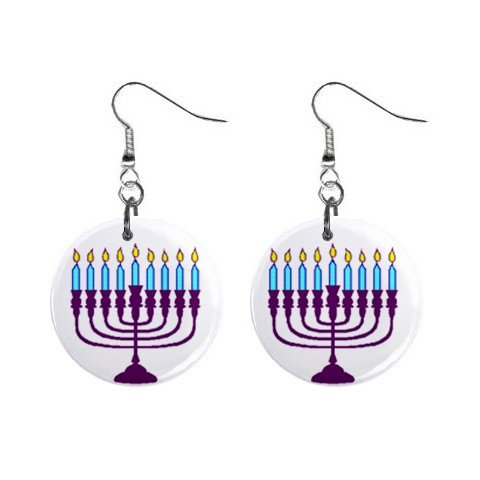 Menorah Jewish Dangle Earrings Jewelry 1 inch Buttons 12320057