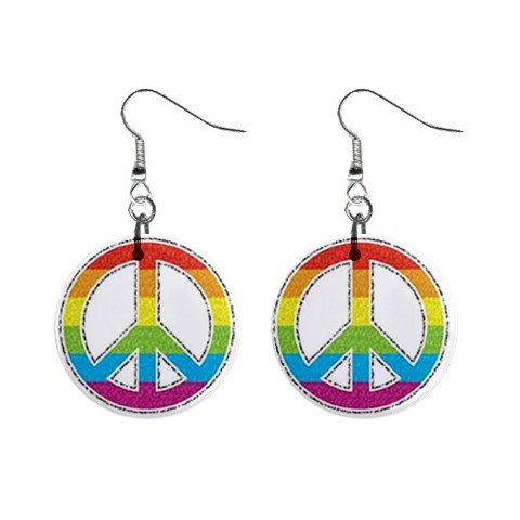 Tye Dye Peace Sign Dangle Earrings Jewelry 1 inch Buttons 12320059