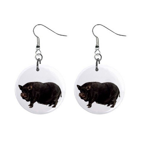 Pot Bellied Pig Belly Dangle Earrings Jewelry 1 inch Buttons 12320081