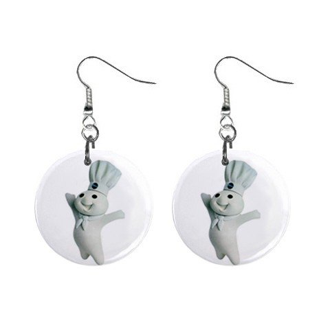 Pillsbury Doughboy #2 Dangle Earrings Jewelry 1 inch Buttons 12320082