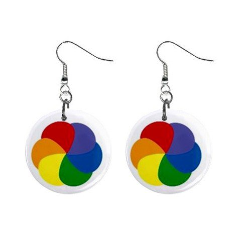 Rainbow of Colors - Gay Lesbian Pride - Dangle Earrings Jewelry 1 inch Buttons 12320083