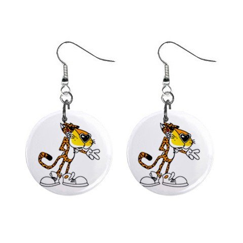 "New Cheetos Tiger Dangle Earrings Jewelry 1"" Button Round 12329449"