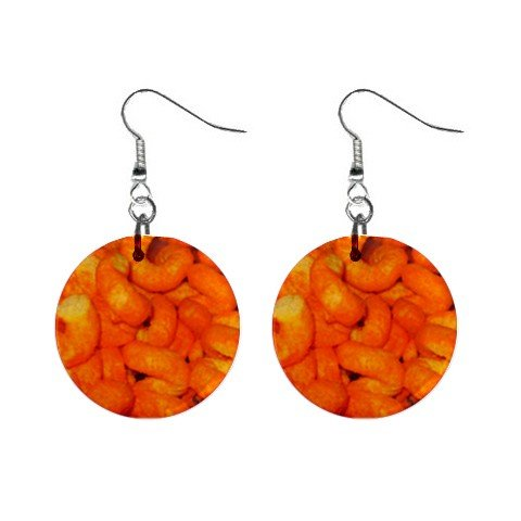"""New Cheetos Cheese Curls Dangle Earrings Jewelry 1"""" Button Round  12329177"""
