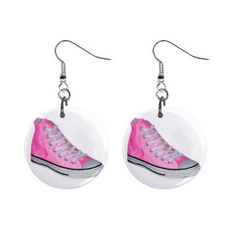 Pink Converse Sneekers Dangle Earrings Jewelry 1 inch Buttons 12116672