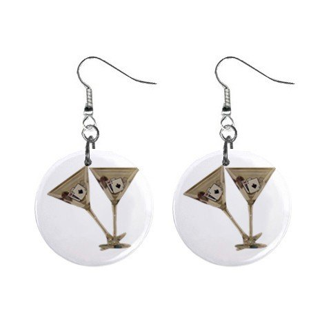 Gambling Martini Glasses Dangle Earrings Jewelry 1 inch Buttons 12116674