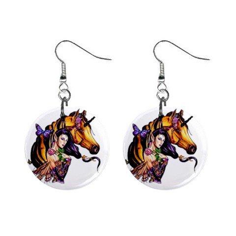 Faery Unicorn Dangle Earrings Jewelry 1 inch Buttons 12116676