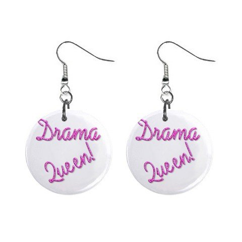 Drama Queen Dangle Earrings Jewelry 1 inch Buttons 12116682