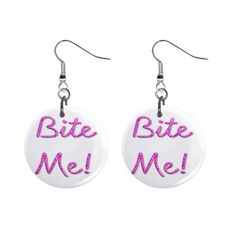 Bite Me! Dangle Earrings Jewelry 1 inch Buttons 12116687