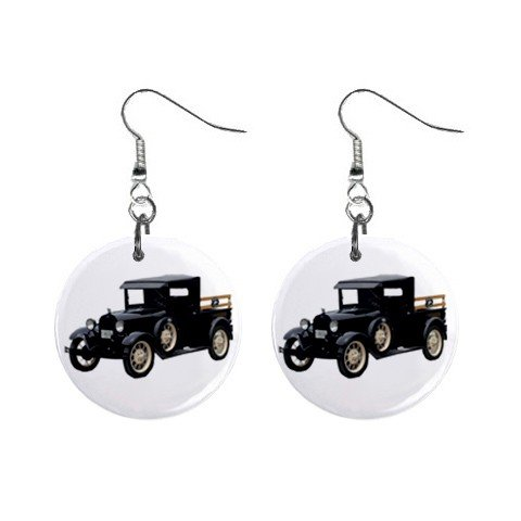 Olde Time Black Truck Dangle Earrings Jewelry 1 inch Buttons 12286532