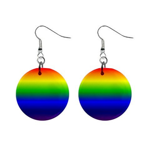 Gay Pride Rainbow of Colors Dangle Earrings Jewelry 1 inch Buttons 12176319