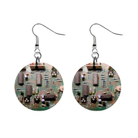Computer mother board Electronic Dangle Earrings Jewelry 1 inch Buttons 12306026