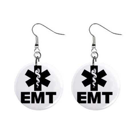EMT Emergency Medical Team Dangle Earrings Jewelry 1 inch Buttons 12306027